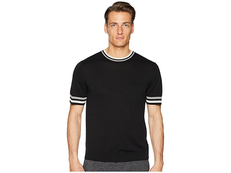 Todd Snyder Tipped Short Sleeve Crew Sweater (Black) Men