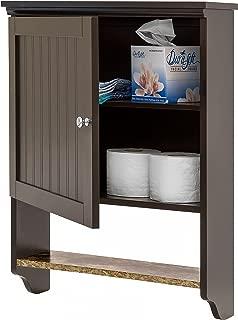 Best Choice Products 19x18in Wooden Wall Mounted Storage Cabinet w/Open Shelf, Versatile Door, Espresso