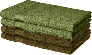 Amazon Brand - Solimo 100% Cotton 4 Piece Hand Towel Set, 500 GSM (Sepia Brown and Olive Green)