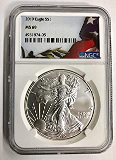2019 Silver Eagle W/Flag Label $1 MS-69 NGC
