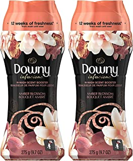 Downy Infusions In-Wash Scent Booster Amber Blossom 9.7 Ounce (275 Gram) Pack of 2 Bottles