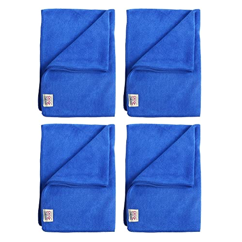 Store2508 Large Size (40 x 60 cm) High Absorbent 420 GSM Microfibre Microfiber Cloth Duster for Home, Car, Office, Furniture Etc. (Royal Blue Colour) (Pack of 4)