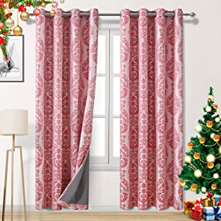 DWCN Red 100% Blackout Curtains with Thermal Back Coating - Insulated Energy Saving & Noise Reducing Floral Jacquard Damask Curtains for Living Room and Nursery, 52 x 84 inch, 2 Panels