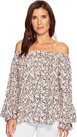 Ruffled-Cuff Floral Jersey Top