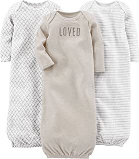 Girls' 3-Pack Neutral Cotton Sleeper Gown