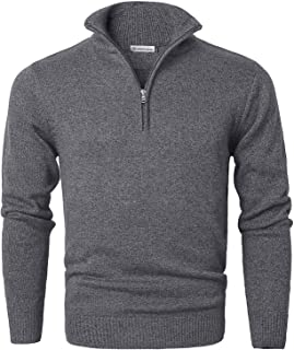 MOCOTONO Men's Long Sleeve Turtleneck Zip Up Pullover Knit Casual Sweater