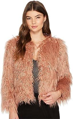 1.STATE - Cropped Faux Fur Jacket