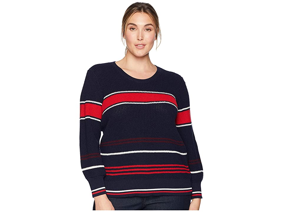 LAUREN Ralph Lauren Plus Size Cotton Bishop-Sleeve Sweater (Multi) Women