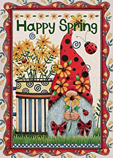 Covido Home Decorative Happy Spring House Flag, Garden Yard Lawn Flower Floral Ladybug Gnome Decor, Vintage Farmhouse Outs...