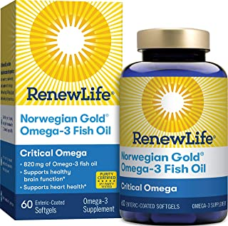 Renew Life Norwegian Gold Adult Fish Oil - Critical Omega, Fish Oil Omega-3 Supplement - Gluten & Dairy Free - 60 Burp-Fre...
