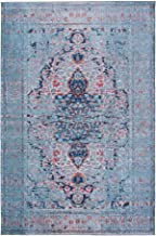 Mylife Rugs Traditional Vintage Non Slip Machine Washable Distressed Area Rug, Turquoise Red 3'x5'