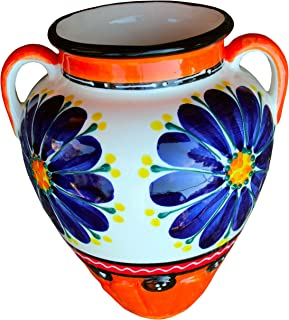 Cactus Canyon Ceramics Spanish Hand-Painted Wall Tinaja Flower Pot, Spanish Orange