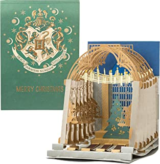 Harry Potter Hogwarts Great Hall Pop-Up Christmas Card - Beautiful Pop Up Great Hall with Tree Inside - 5 x 7