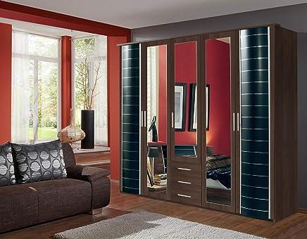 Wardrobe German Made Walnut Black Wimex 5 Doors U0026 3 Drawers 7 Star Furniture  German Made