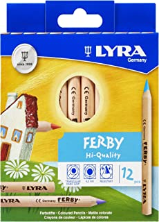 LYRA Ferby Giant Triangular Colored Pencils, Unlacquered, 6.25 Millimeter Cores, Assorted Colors, 12 Count (3611120)