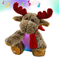 Bstaofy LED Musical Reindeer Stuffed Animal Light up Plush Toy Soft Adorable Singing Animate Pals for Kids, 11''