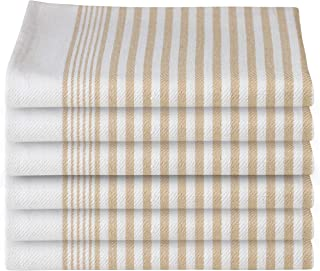 GLAMBURG 100% Cotton Kitchen Towels and Dish Cloth Sets, 6 Pack 18x28 Classic Stripe Dish Towels,Tea Towels,Bar Towels, Cleaning Towels, Highly Absorbent Dishcloth,Kitchen Towel Set - Taupe Beige