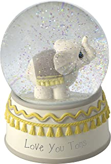 Precious Moments Resin/Glass Love You Tons Elephant Musical Snow Globe, Gray Chevron
