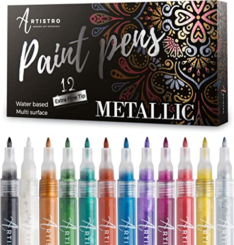 Metallic Paint Pens for Rock Painting, Stone, Ceramic, Glass, Wood, Fabric, Scrapbook Journals, Photo Albums, Card St...