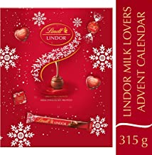 Lindt Milk Lovers Advent Calendar, 24 Assorted Milk Chocolate Surprises, Milk Chocolate Truffles, Hearts & Squares With Smooth Melting Filling, 315 g