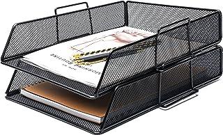 Exerz Corbeilles à courrier 2 Pièces/Bannette de bureau superposable à mailles métalliques/organisateur multifonctionnel/s...