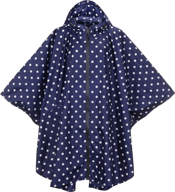 QZUnique Lightweight Outdoor Hooded Waterproof Packable Rain Poncho Jacket Coat Raincoat with Zipper for Adults