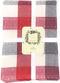 Ridgefield Home Holiday Collection Tablecloth, Red & Grey Plaid with Silver Thread Accents for Christmas Home Decor & Table Setting Linens (60 X 108)