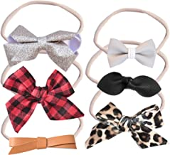 California Tot Bow Soft & Stretchy Nylon Headbands From Newborn to Girls, Mixed Set of 4 or 7