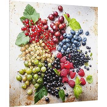 peinture murale revetement mural cuisine dosseret de cuisine impression sur verre fond de cuisine Carr/é 1:1 Berry Mix With Ice Cubes Wood Dimension: 59cm x 60cm Bilderwelten Cr/édence en verre
