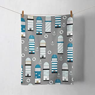Paño de cocina en gris con diseño de faro azul y blanco
