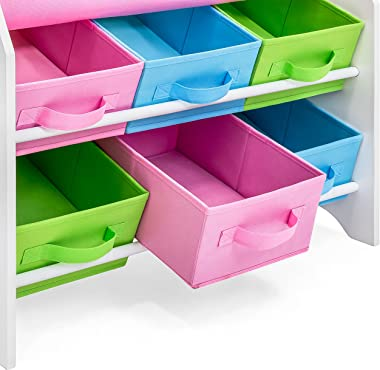 Best Choice Products Kids Furniture Toy and Bookcase Storage Shelf Organizer w/ 3 Book Shelves, 6 Fabric Storage Bins, Multic