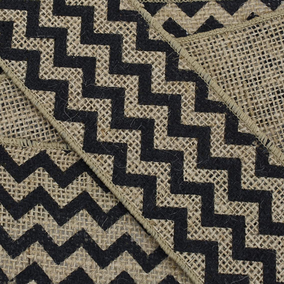 Kel-Toy Wired Chevron Burlap Ribbon, 2.5-Inch by 10-Yard, Natural and Black