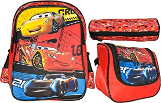 McQueen Car School Backpack for Kids Boy 14 Inch Red Include Lunch Bag And Pencil Pouch