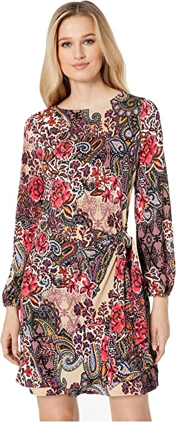 Paisley Floral Balloon Sleeve Faux Wrap Dress
