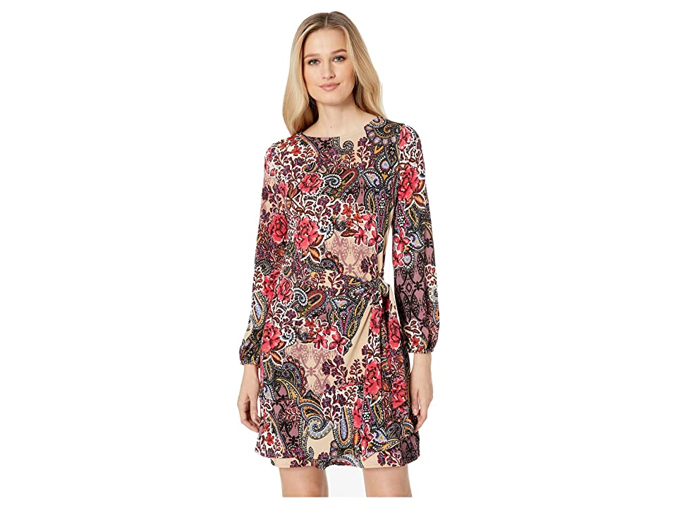 eci Paisley Floral Balloon Sleeve Faux Wrap Dress (Red/Beige) Women