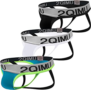 2QIMU Men's Jockstrap Thong Underwear Briefs G-String Multipack, Cotton Male Sexy Jock Strap Underwear for Men