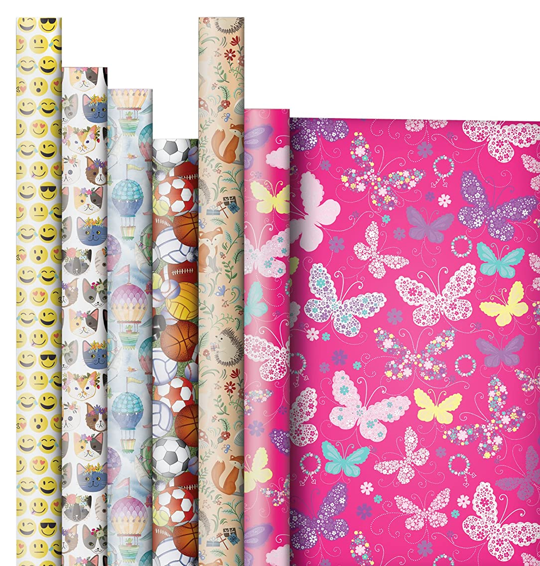 Jillson Roberts 6 Roll-Count All-Occasion Gift Wrap Available in 14 Different Assortments, Hooray for Little Girls