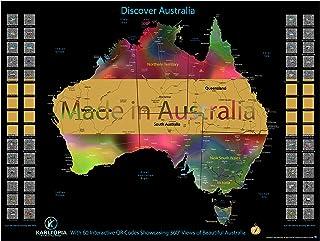 Australia Scratch Off Map – Large 80cm x 60cm Scratch Off Map with 60 QR Codes for 360° Views of Australia – Superb Black ...