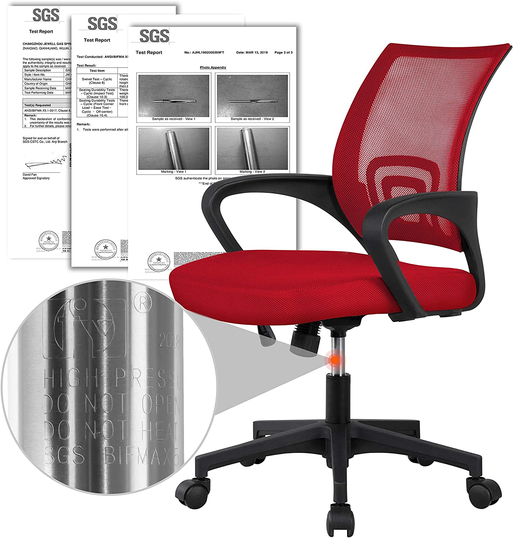 Yaheetech Chaise de Bureau /à roulettes Maille Mesh Fauteuil de Bureau Ergonomique Inclinable Pivotant Si/ège et Base Plus Larges Hauteur R/églable avec Accoudoirs Bleu