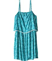 IKKS Tropical Print Dress with Thin Straps & Top Ruffle with Fringe Detail (Big Kids)