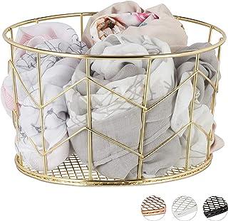 Relaxdays 10026607_259 Corbeille Fil de Fer, Panier métal, Pot Rangement vêtement Accessoires, cosmétiques, ∅ 21,5 cm, dor...