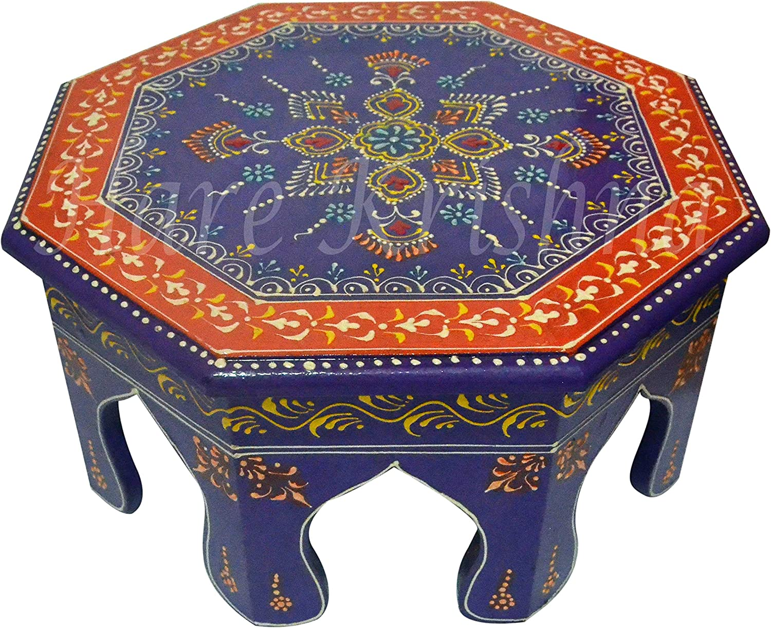 Handmade Wood Low Table Side Stool Round Bajot Chowki (Purple) 12 x 12 x 6 Inches