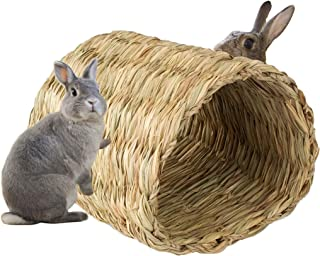 Sea Grass Pet House Tunnel Hutch, Woven Hut for Laying or Sleeping | Comfort, Warmth, Security, Pet-Safe, Edible Chew Home for Bunny, Rabbits, Chinchilla and Small Animals