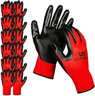 ACKTRA Nitrile Coated Nylon Safety WORK GLOVES 12 Pairs, Knit Wrist Cuff, Multipurpose, for Men & Women, WG003 Red Polyester, Black Nitrile, X-Large