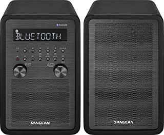 Sangean WR-50P FM-RBDS/AM/Bluetooth Wood Cabinet Table Top Stereo Digital Receiver System (Renewed)