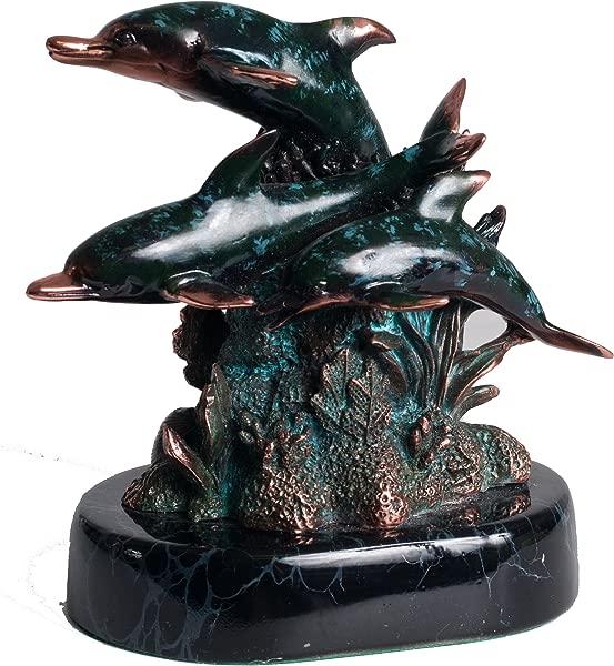 U Bargain Mall 5 Dolphins Statue W Patina C DBL293