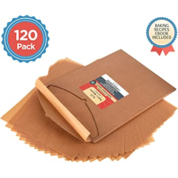 Parchment Paper Baking Sheets by Baker's Signature   Precut Non-Stick & Unbleached - Will Not Curl or Burn - Non-Toxic & Comes in Convenient Packaging - 12x16 Inch Pack of 120