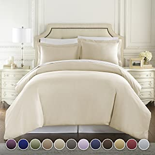Hotel Luxury 3pc Duvet Cover Set-1500 Thread Count Egyptian Quality Ultra Silky Soft Top Quality Premium Bedding Collection -King Size Cream