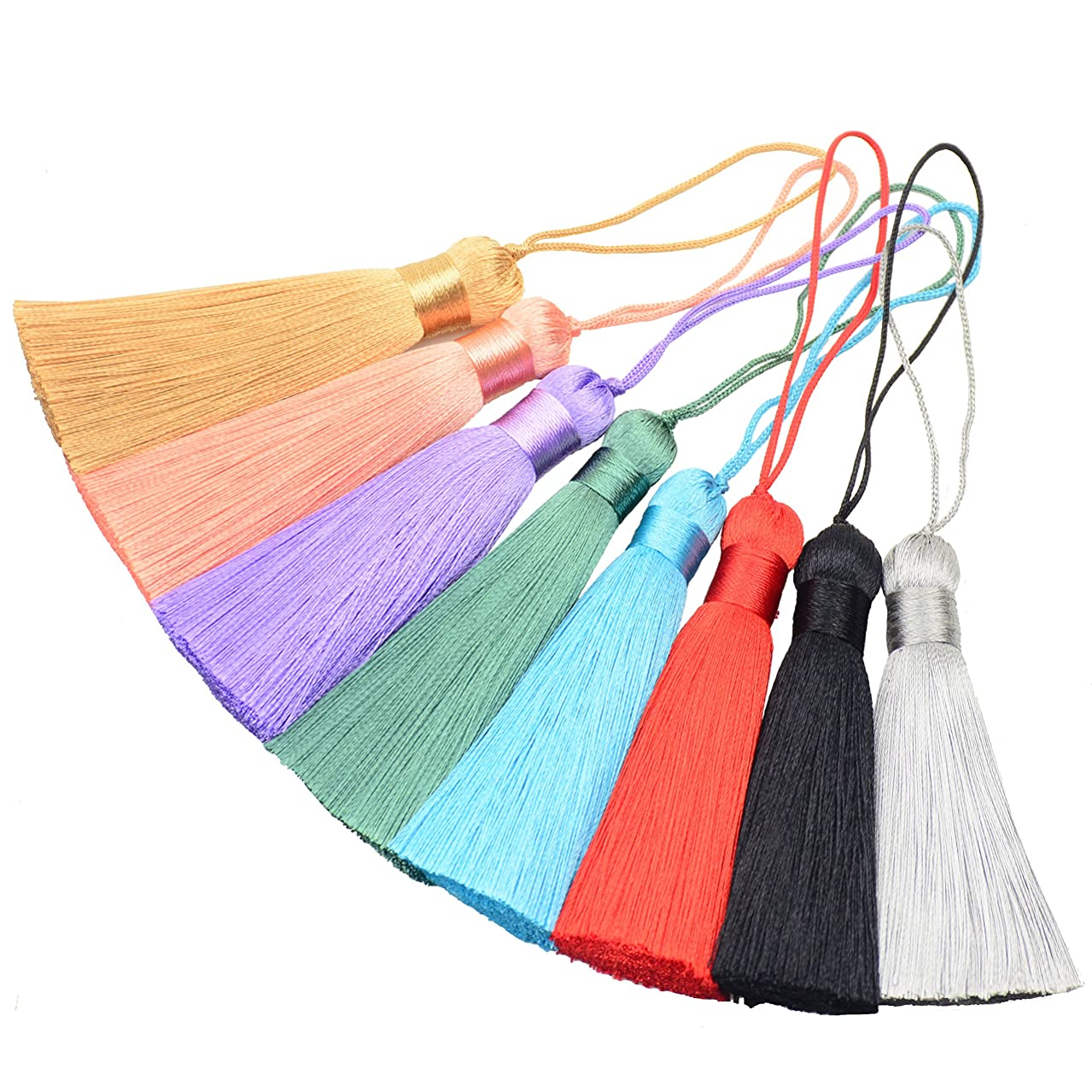 Makhry 8pcs 16cm/6.28 inch Cute Chunky Tassels Soft Elegant Handmade Silky Floss Tassels with 2.75 Inch Cord Loop and Chinese Knot for Woman Earrings, Jewelry Making, Souvenir, (Multi)