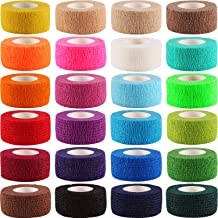 Frienda 24 Pieces Adhesive Wrap Bandage Rolls Self-Adherent Tape for Sports, Wrist and Ankle, 5 Yards (24 Colors, 1 Inch)
